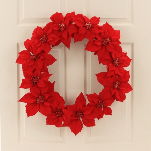 30 christmas unlit red poinsettia with red glitter edges artificial 30 christmas unlit red poinsettia with red glitter edges artificial pine wreath wondershop target mightylinksfo