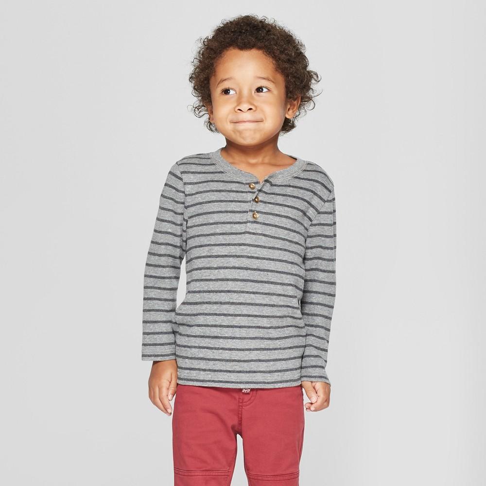 Toddler Boys' Long Sleeve Striped Henley - Cat & Jack Gray 18M