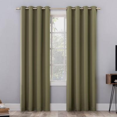 "108""x52"" Oslo Theater Grade Extreme 100% Blackout Grommet Curtain Panel Olive Green - Sun Zero"