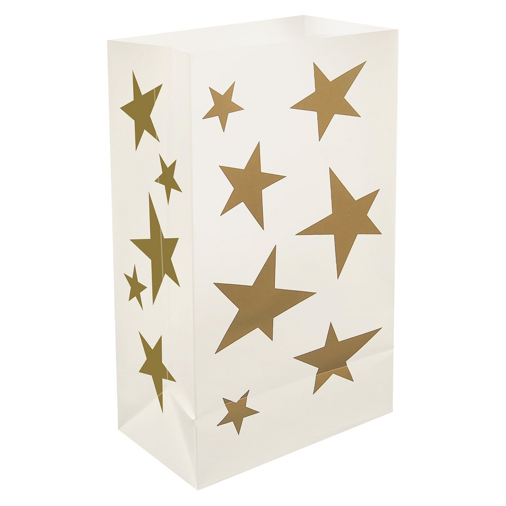 12ct Lumabase Gold Stars Plastic Luminaria Bags, Goldite