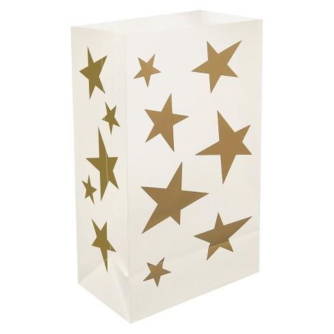 12ct Stars Plastic Luminaria Bags Gold - image 1 of 3