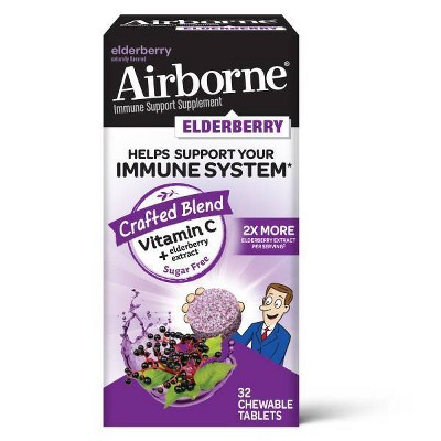 Airborne Chewable Tablets with Vitamin C & Vitamin D - Elderberry - 32ct