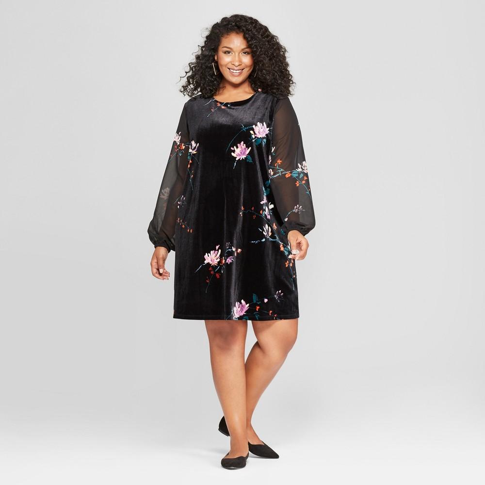 Women's Plus Size Floral Print Chiffon Sleeve Velour Dress - Ava & Viv Black 1X, Size: Small was $29.98 now $14.99 (50.0% off)