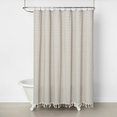 Railroad Stripe Shower Curtain Gray - Hearth & Hand™ with Magnolia