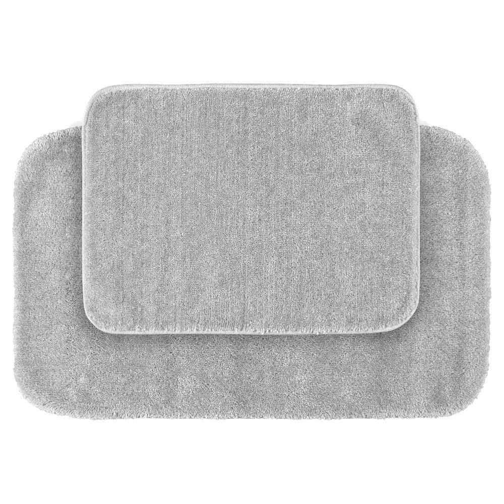 Garland 2 Piece Traditional Washable Nylon Bath Rug Set - Platinum Gray