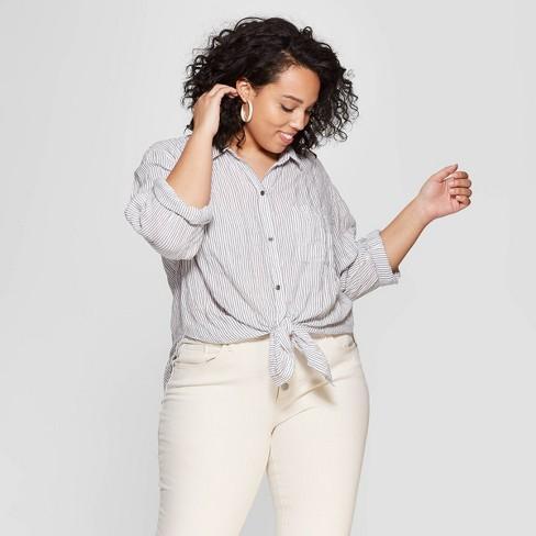 84feb5626d1dc9 Women's Plus Size Striped Long Sleeve V-Neck Button Front Shirt - Universal  Thread™ White