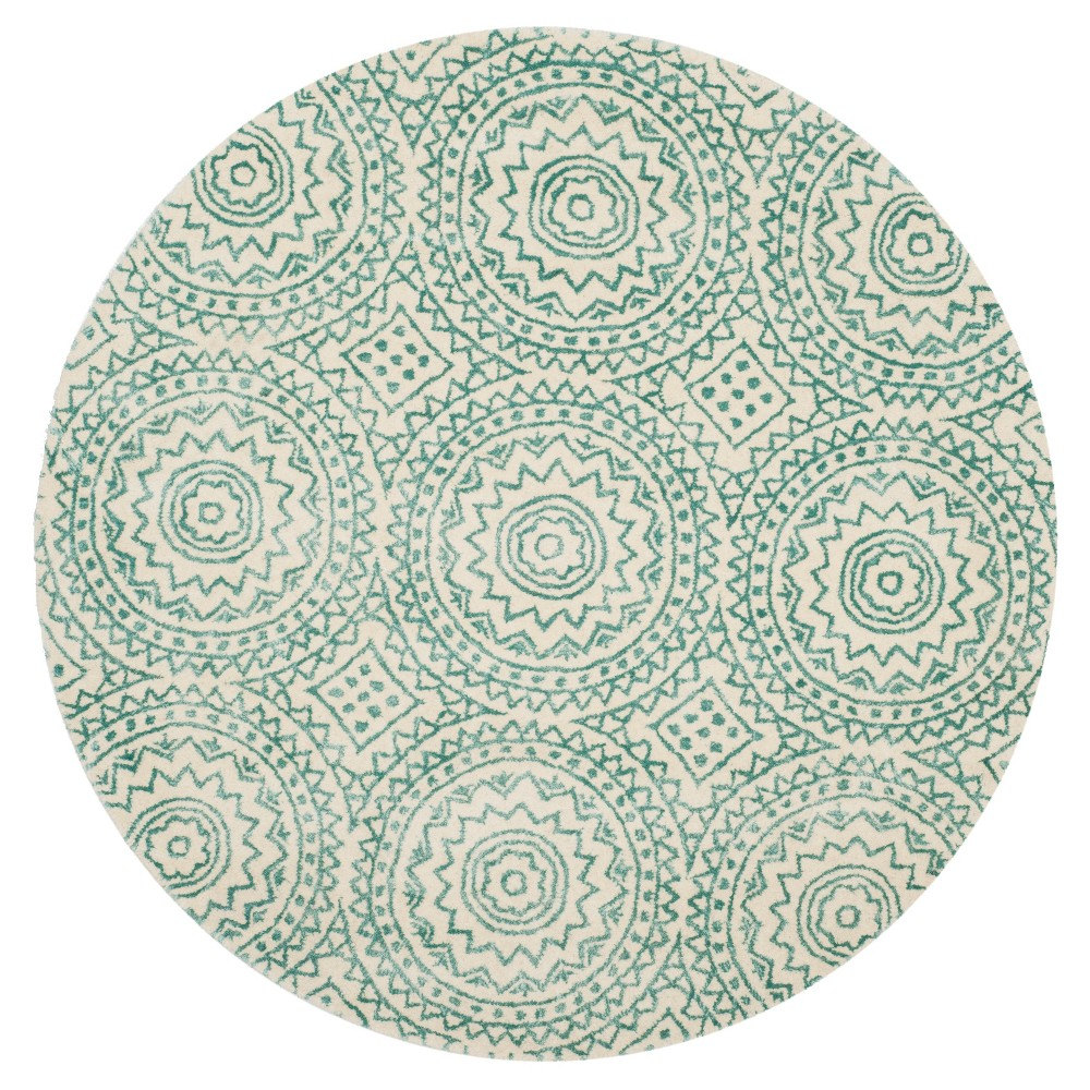 Ivory/Blue Floral Tufted Round Area Rug 5' - Safavieh, White