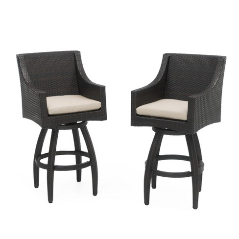 RST Brands Deco 2 Piece of Woven Swivel Barstools with Cushions - image 1 of 8