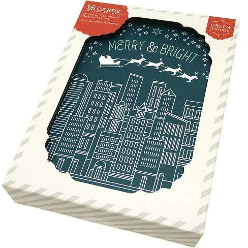 Green Inspired 16ct Holiday Boxed Cards City & Sleigh - image 1 of 2