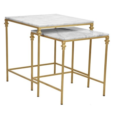 2pc Juniper Nesting Table Set White/Gold - Carolina Chair & Table