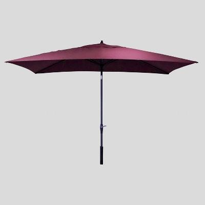 10' x 6' Rectangular Patio Umbrella Merlot - Black Pole - Threshold™