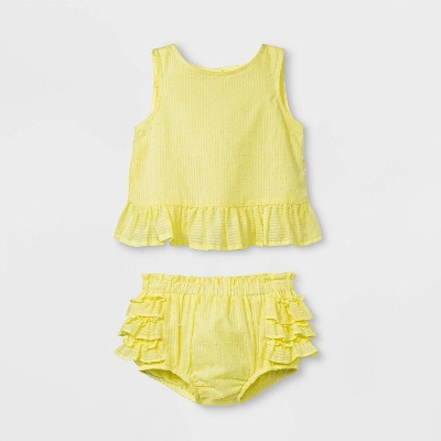 Baby Girls' Sleeveless Clipspot Ruffle Tunic and Bloomer Set - Cat & Jack™ Yellow 0-3M