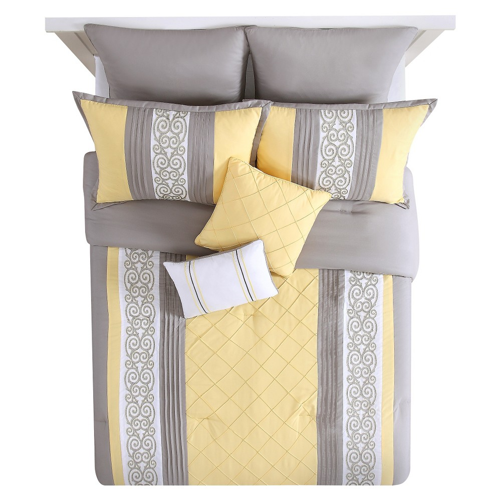 Yellow&Gray Farion Pleated Scroll Comforter Set (King) 8 Piece - Vcny