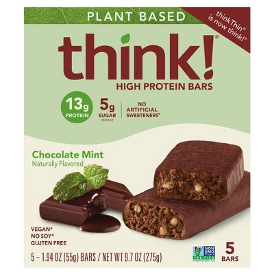 think! High Protein Plant Based Chocolate Mint Bars - 5ct/9.7oz
