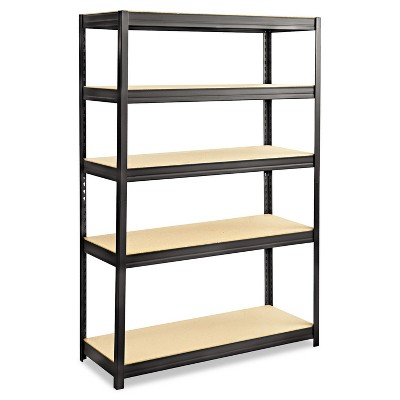 Safco Boltless Steel/Particleboard Shelving Five-Shelf 48w x 18d x 72h Black 6246BL