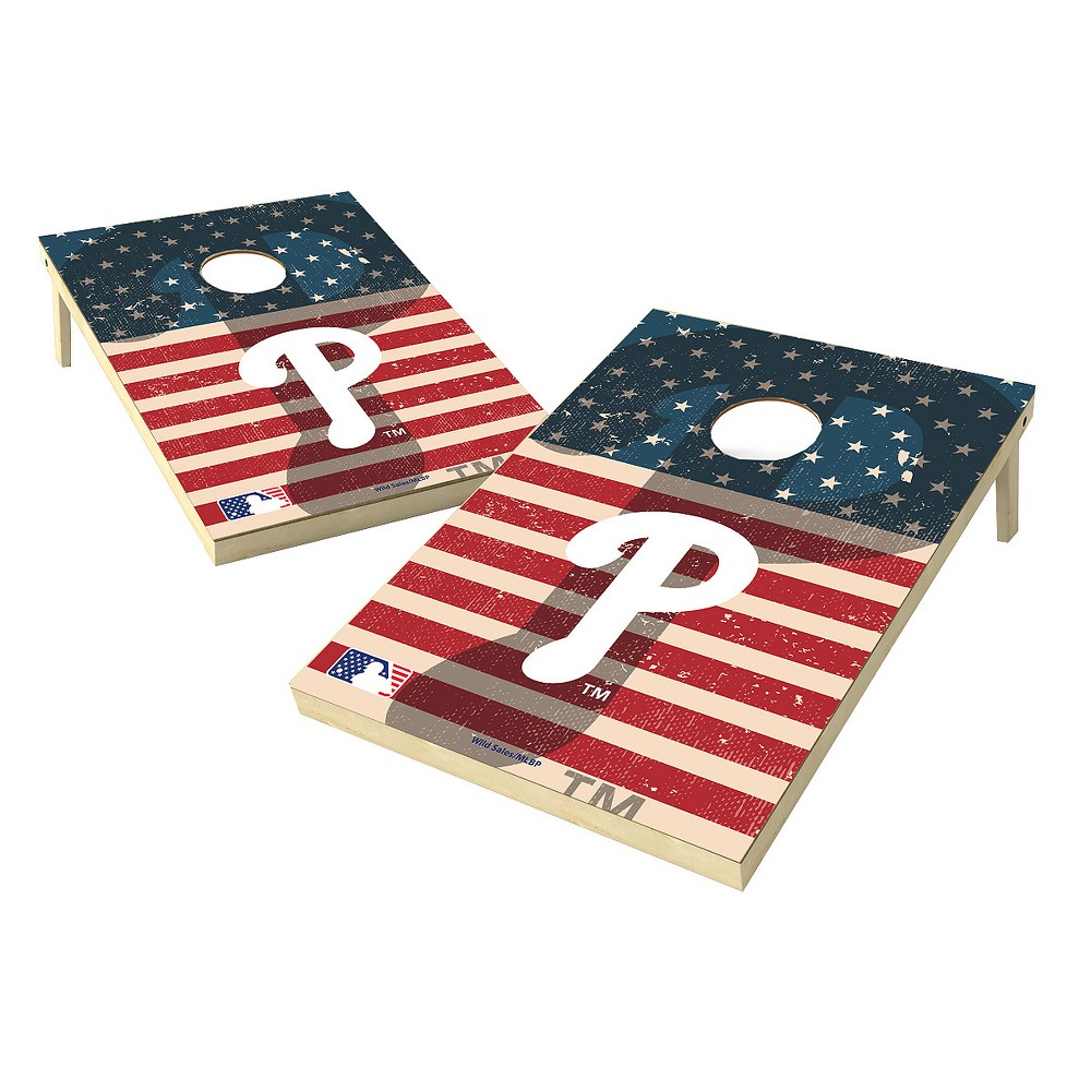 MLB Wild Sports Philadelphia Phillies 2x3 Tailgate Toss Cornhole Shield - Stars and Stripes