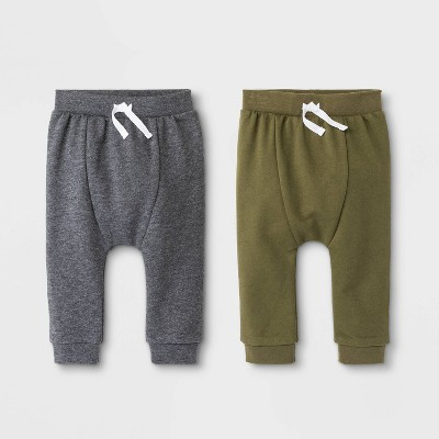 Baby Boys' 2pc Jogger Pants - Cat & Jack™ Olive/Gray 3-6M
