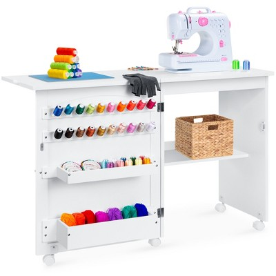 Best Choice Products Folding Sewing Table Multipurpose Craft Station Side Desk w/ Wheels, Shelves, Bins, Pegs