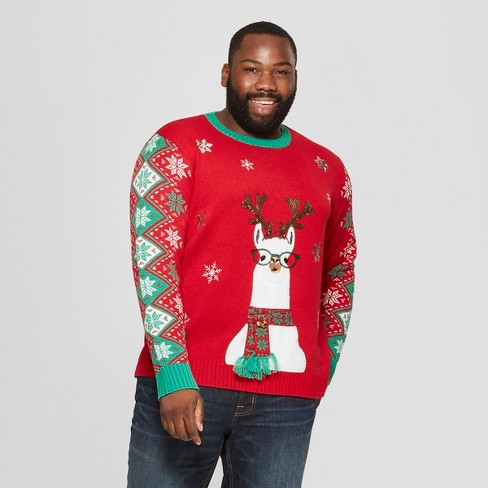 Adult Plus Size Llama Family Ugly Christmas Sweater 33 Degrees Red