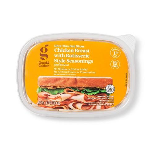 Rotisserie Seasoned Chicken Breast Ultra-Thin Deli Slices - 16oz - Good & Gather™ - image 1 of 3