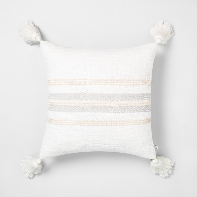 "18"" x 18"" Center Slub Stripe Throw Pillow Taupe / Sour Cream - Hearth & Hand™ with Magnolia"