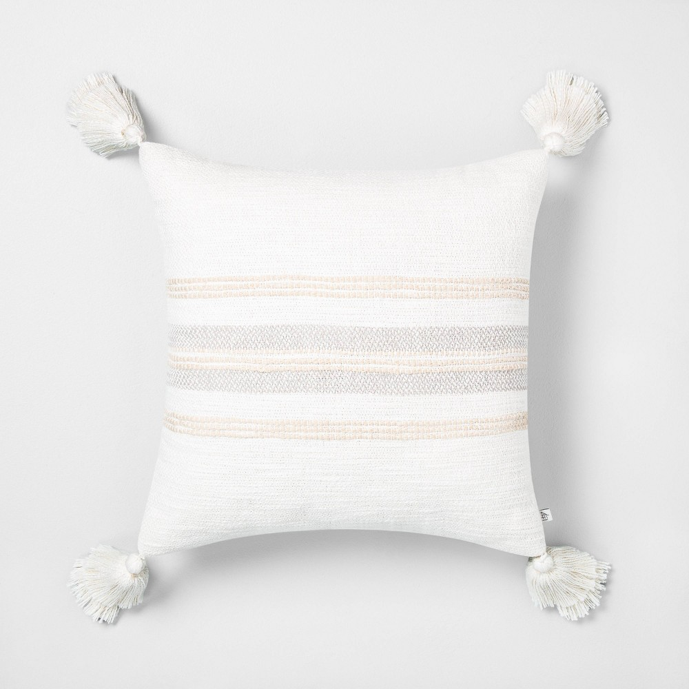 "Image of ""18"""" x 18"""" Center Slub Stripe Throw Pillow Taupe / Sour Cream - Hearth & Hand with Magnolia"""