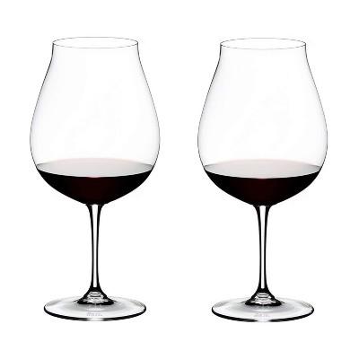 Riedel Vinum Crystal Dishwasher Safe New World 28.21 Ounce Pinot Noir Rose Champagne Single Stem Wine Glass, Set of 2