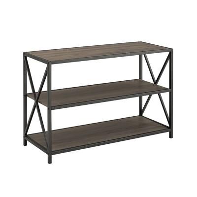 "25.62"" Haven X Frame Metal and Wood Media Bookshelf - Saracina Home"