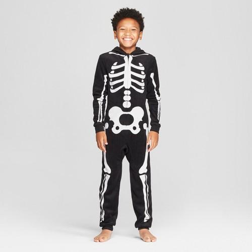 Kids' Halloween Skeleton Union Suit - Cat & Jack Black 4, Kids Unisex