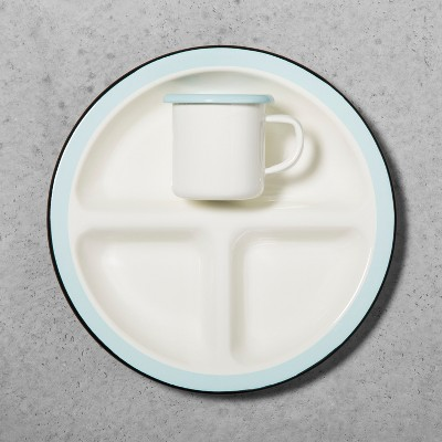Enamel Kids Divided Plate & Cup - Black/Blue - Hearth & Hand™ with Magnolia