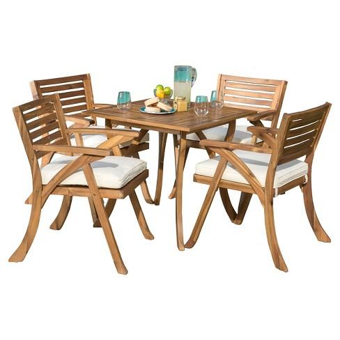Hermosa 5pc Acacia Wood Patio Dining Set With Cushions Teak Finish
