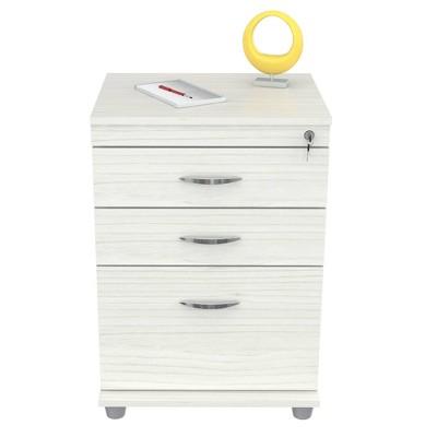 3 Drawer Locking File Cabinet Washed Oak - Inval