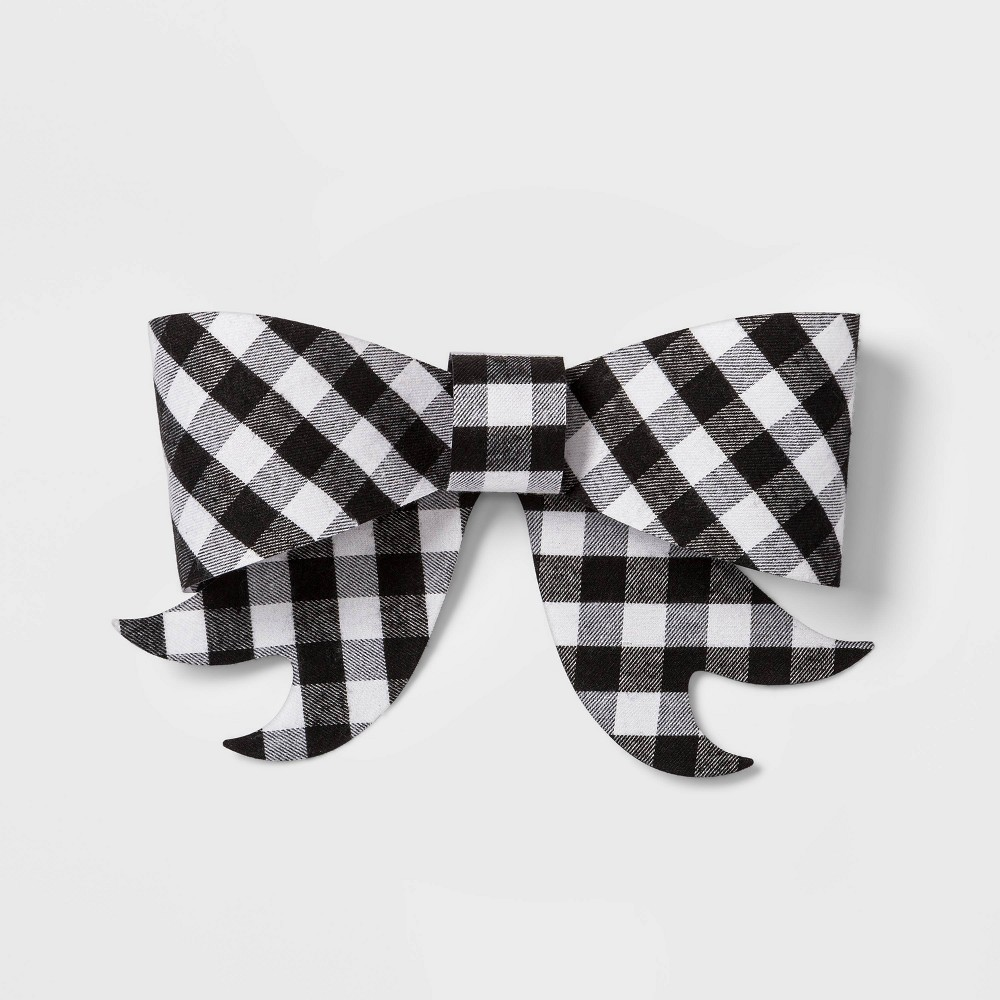 Image of 1ct Bow Rigid Plaid White and Black - Wondershop , White Black