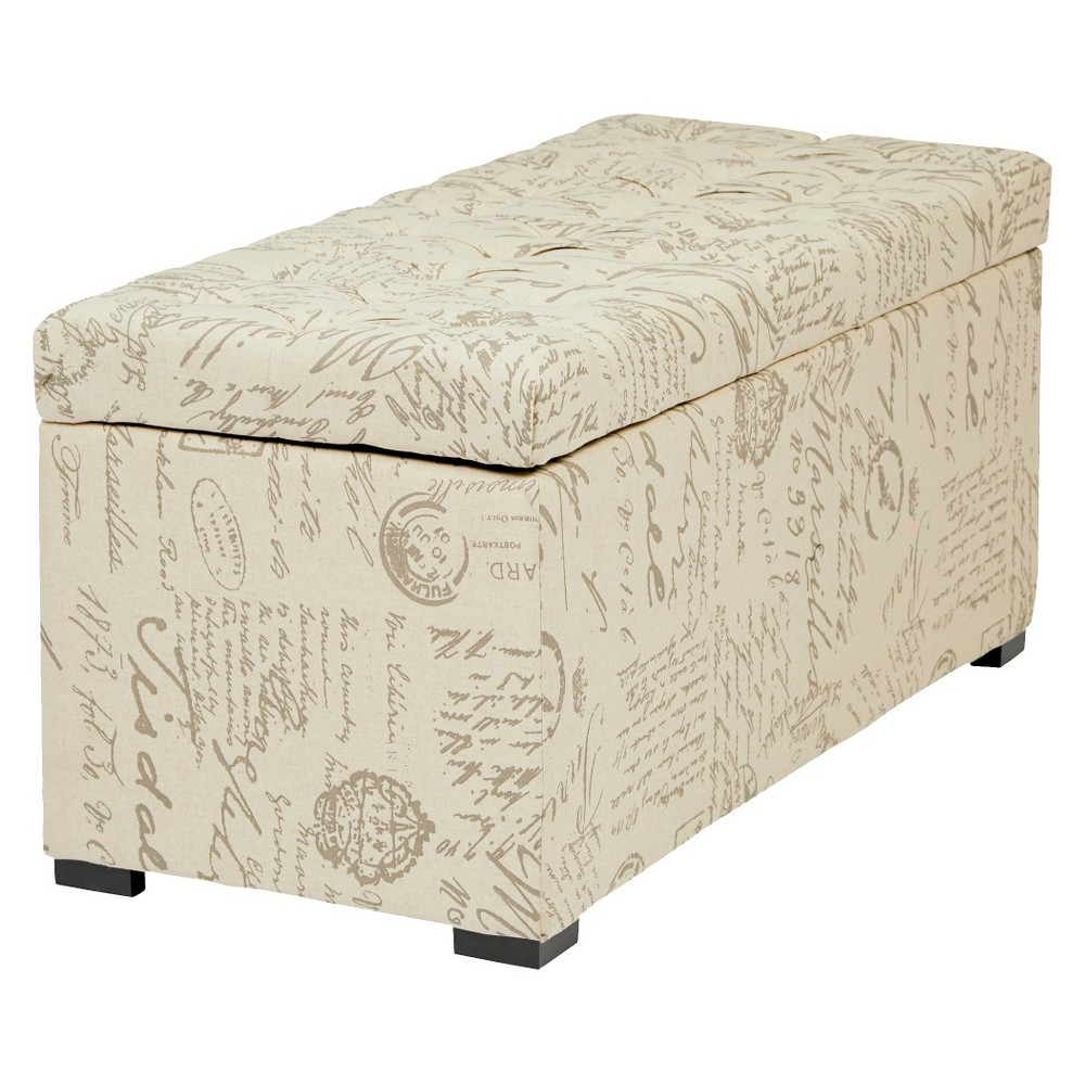 "Image of ""39"""" Sahara Tufted Storage Ottoman Script - OSP Home Furnishings"""