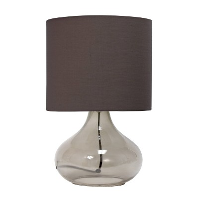 Glass Raindrop Table Lamp with Fabric Shade Gray - Simple Designs