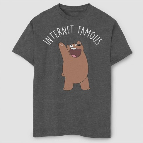 Boys' We Bare Bears Internet Famous T-Shirt - Charcoal - image 1 of 2