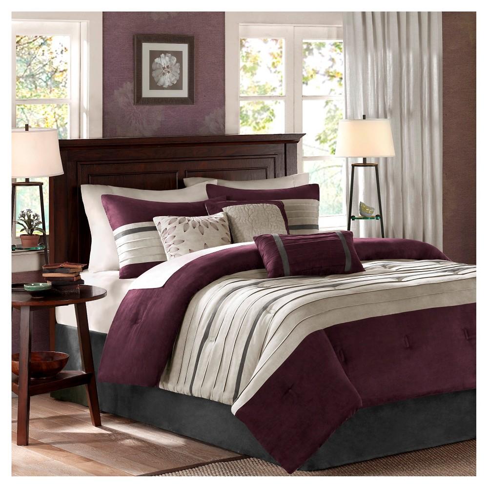 Plum Dakota Microsuede Comforter Set Californi King 7pc 7pc, Purple