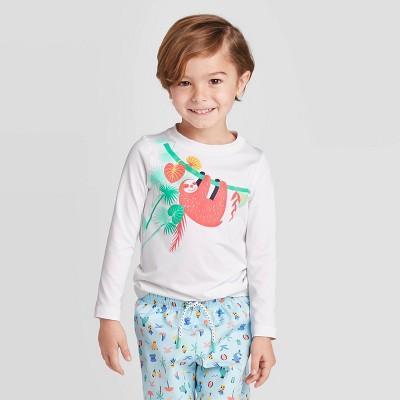 Toddler Boys' Sloth Long Sleeve Rash Guard Swim Shirt - Cat & Jack™ White 12M