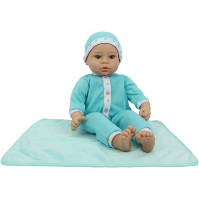 """18"""" Sweet and Happy Baby with Blanket - Blue with Polka Dot Pajamas"""