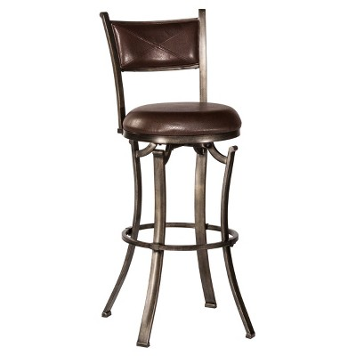 Drummond Swivel Height Barstool Rubbed Pewter/Brown - Hillsdale Furniture