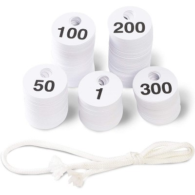 "Juvale 600-Pack Reusable Plastic Coat Room Check Tags 1.75"", Double-Sided Numbered Hanger Tags 1-300, White"