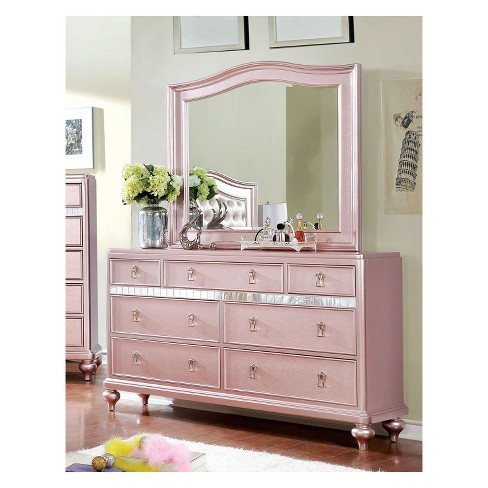 Iohomes Arehart Contemporary Mirror Trim Dresser And Camelback Set Rose Gold Homes Inside Out Target