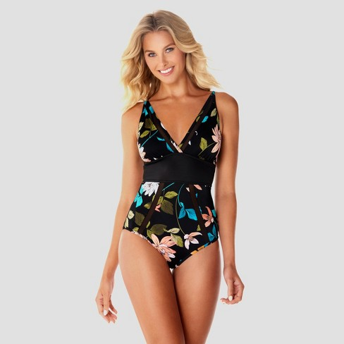 Women's Slimming Control Mesh One Piece Swimsuit - Dreamsuit by Miracle Brands Black Floral - image 1 of 2