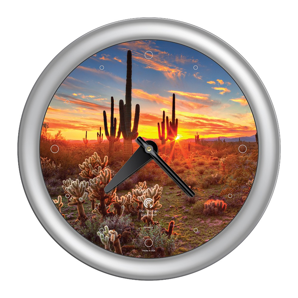 14 34 X 1 8 34 Southwest Cactus Decorative Wall Clock Silver Frame By Chicago Lighthouse
