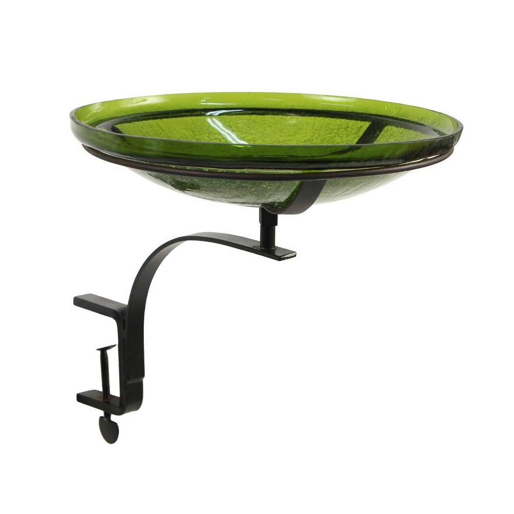 13 7 34 Reflective Crackle Glass Birdbath Bowl With Rail Mount Bracket Fern Green Achla Designs