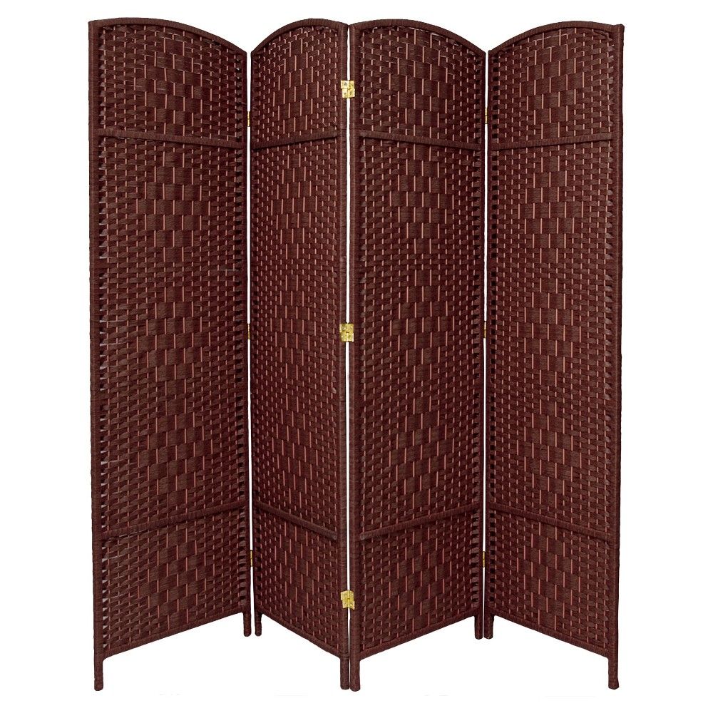 6 ft. Tall Diamond Weave Fiber Room Divider - Dark Red (4 Panels), Russet