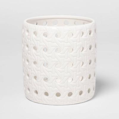 "4.3"" x 4.3"" Ceramic Bamboo Pattern Candle Holder Sleeve White - Threshold™"