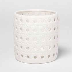 "4.3"" x 4.3"" Ceramic Bamboo Pattern Candle Holder Sleeve White - Threshold™"