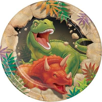 24ct Dinosaur Dessert Plates Brown