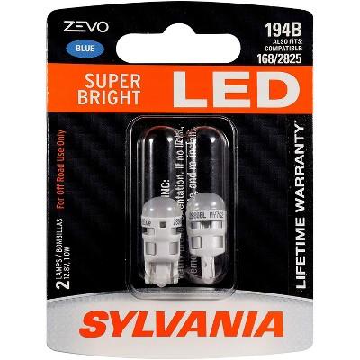 Sylvania Zevo 194 Blue T10 W5W Socket LED Super Bright Interior Vehicle Car Lighting Applications Mini Light Bulb Set, 2 Pack